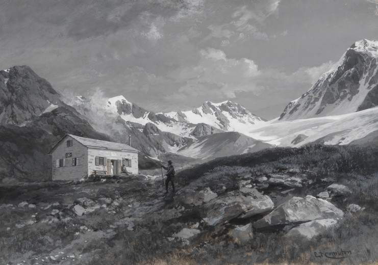 Karlsbader Hütte before 1893 in a watercolour by Edward Theodore Compton