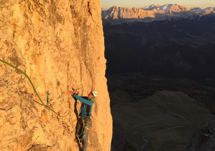 "Simon Kehrer at the first ascent of the ""Traverso al Cielo"""