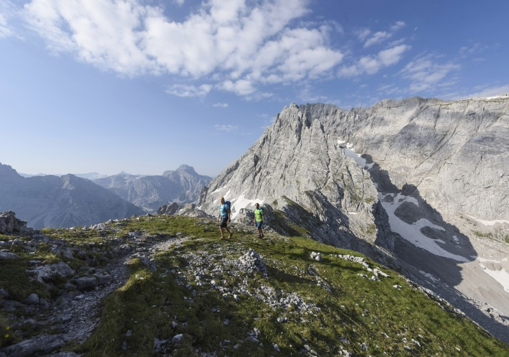 Hiking in the alpine cirque of the Blaueis-Glacier